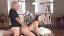 OLD4K. Pretty 18yo girl and old dad spend vacation by...