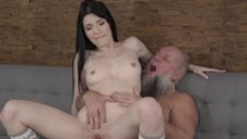 Natural Shaved Teen Loves Old Man's Dick!