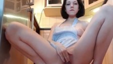 Little Step Sis Riding Dildo in the Kitchen till she Cums